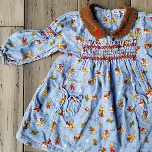 le top baby smocked corduroy rodeo dress 6 mo